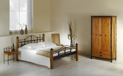 Bedroom furniture Alcatraz wrought iron and solid wood