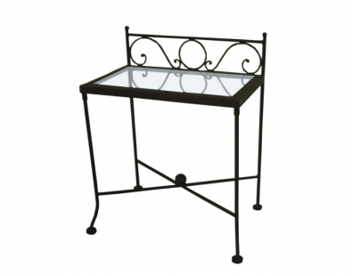 Wrought iron end table with glass top